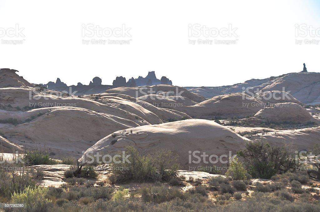 Petrified sand dunes at Arches National Park, Utah stock photo