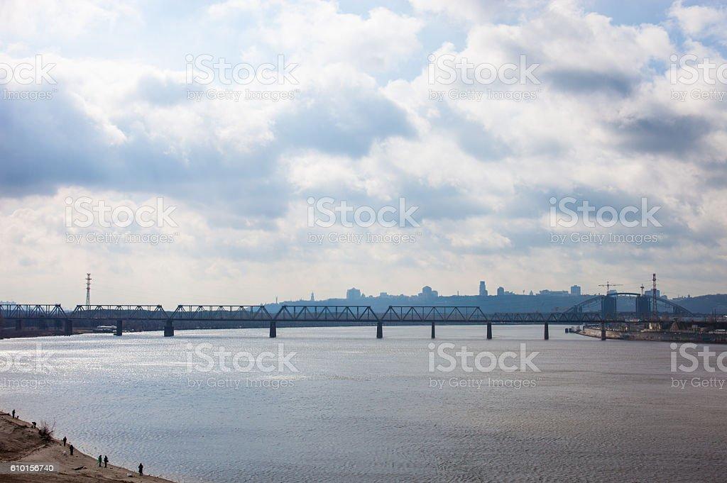 Petrivskiy railroad bridge in Kyiv across the Dnieper stock photo