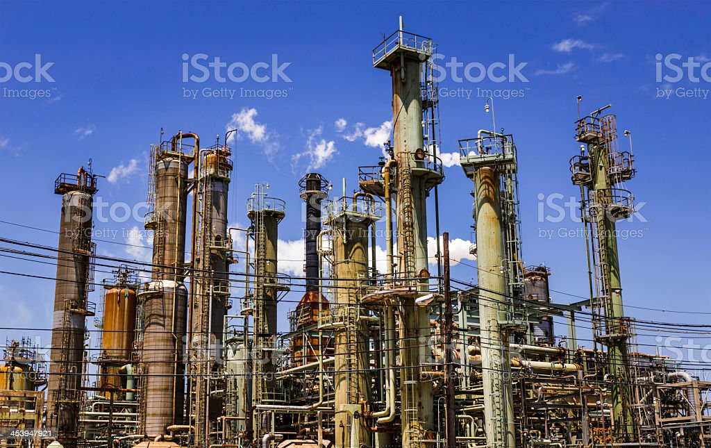 petro chemical oil processing refinery plant, Texas City industrial skyline royalty-free stock photo