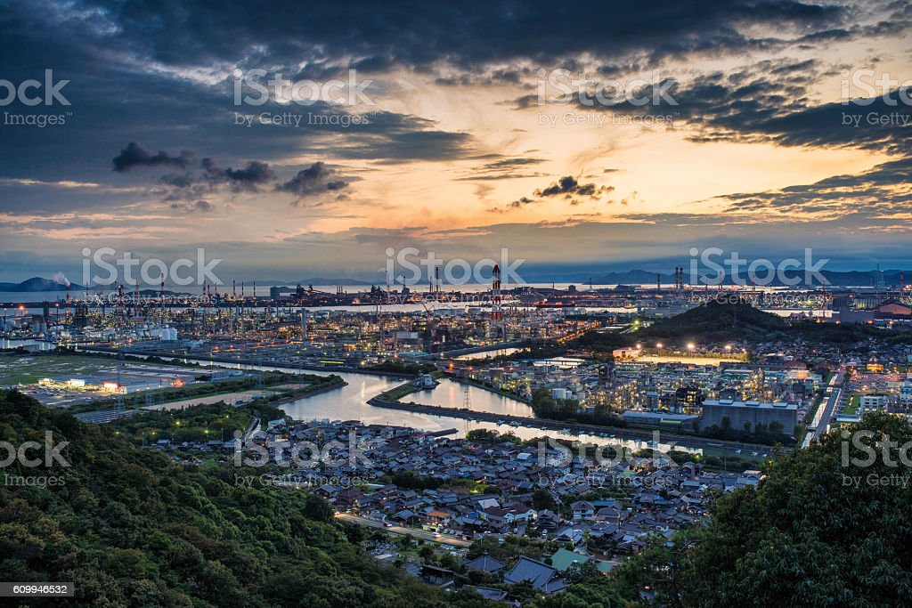 Petrochecmical factories in the early evening stock photo