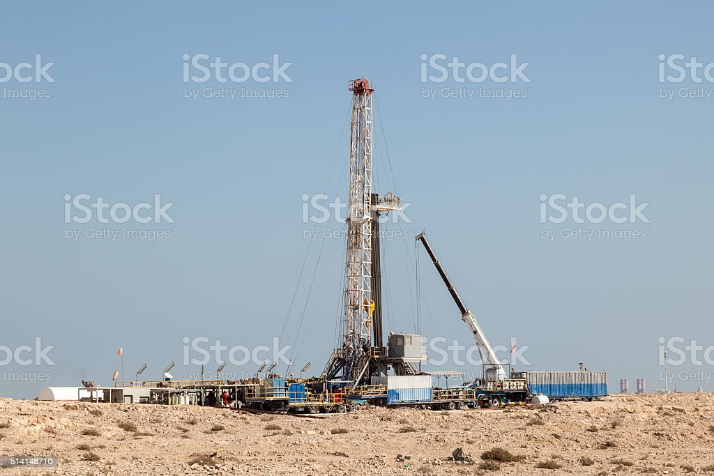 Petrochemical facilities in the desert stock photo