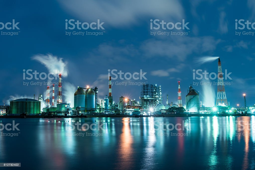 Petrochemical factory at night working 24 hours a day stock photo