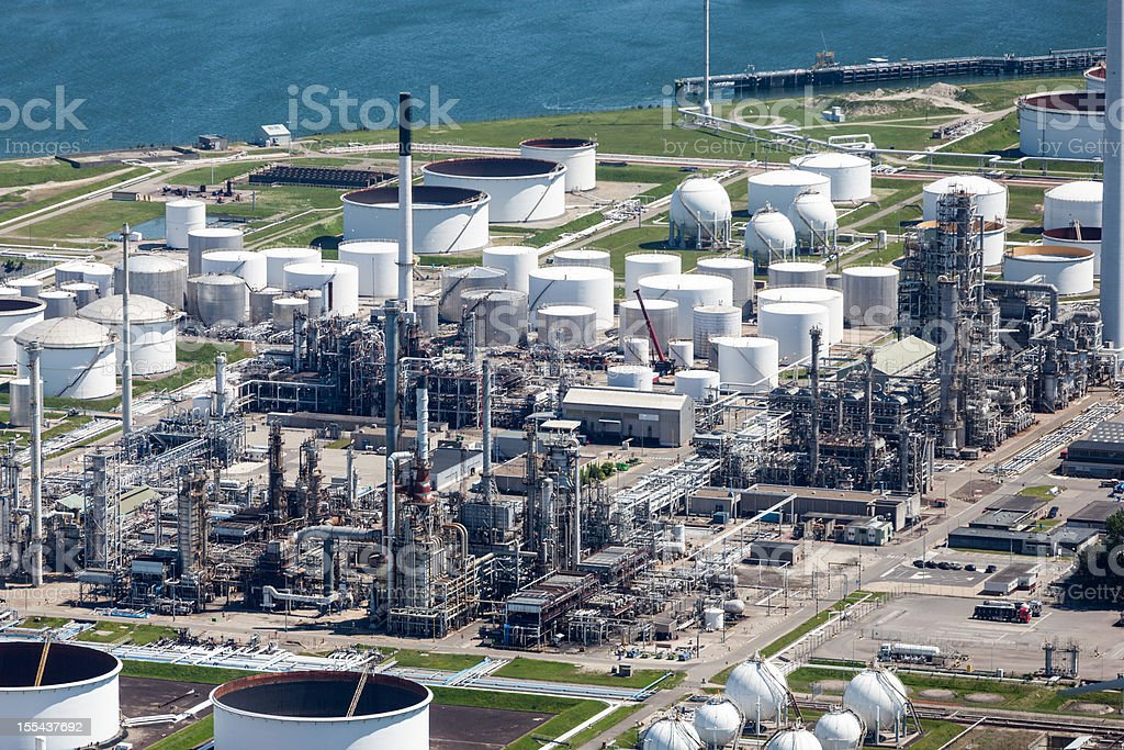 Petrochemical industry aerial stock photo