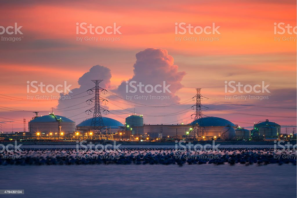Petrochemical industry on sunset colorful sky stock photo