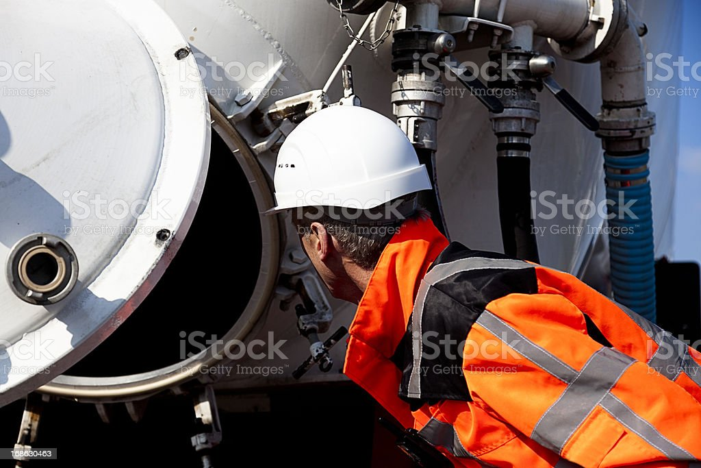 Petrochemical inspector stock photo