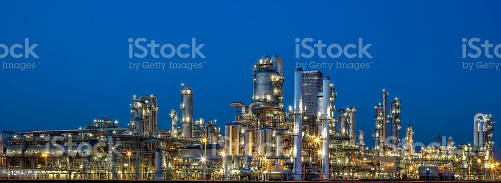 Petrochemical Plant At Dusk stock photo