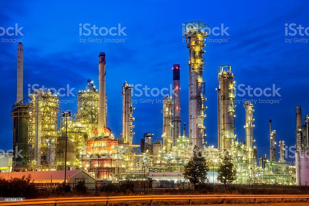 Petrochemical Plant Illuminated at Dusk stock photo