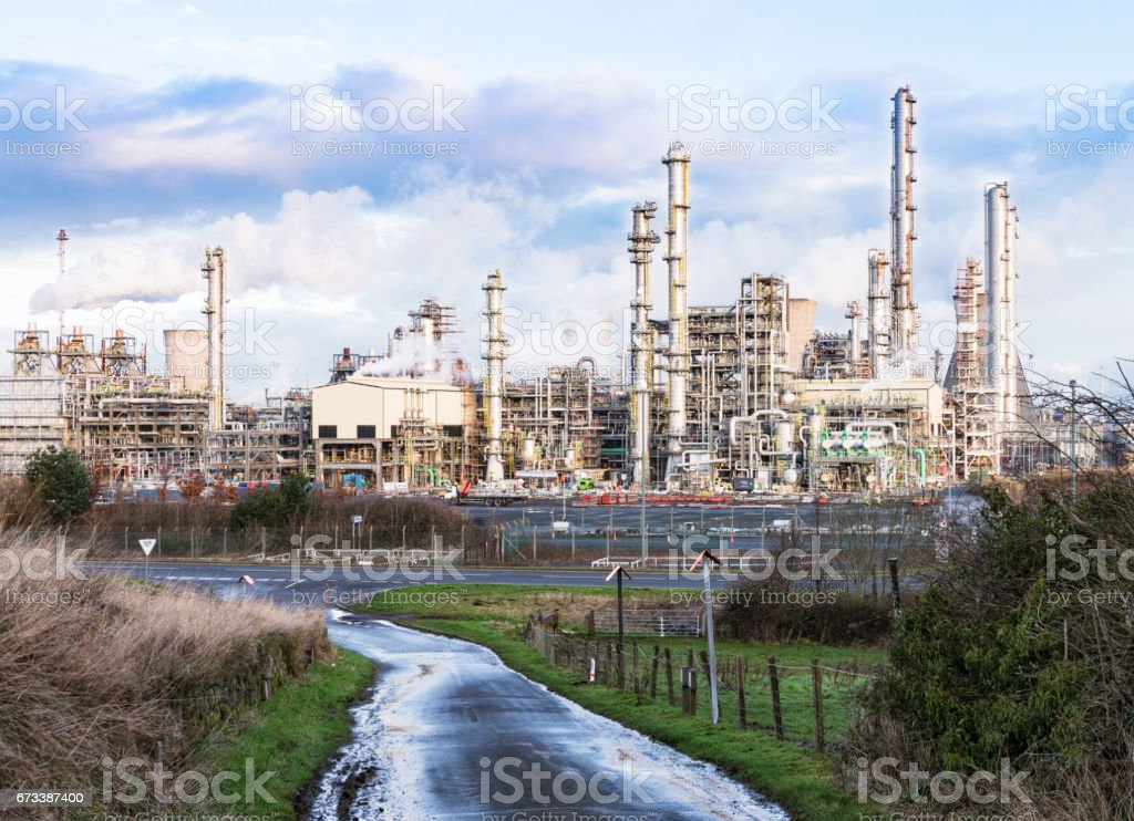 Petrochemical plant in context stock photo