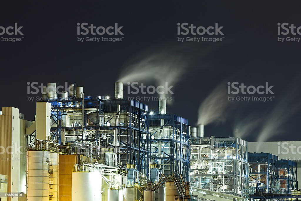 Petrochemical plant in night royalty-free stock photo