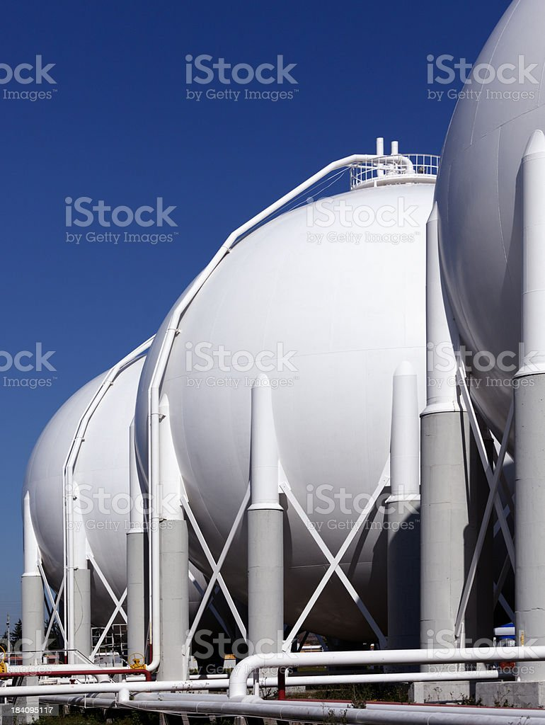 A petrochemical plant on a sunny day stock photo