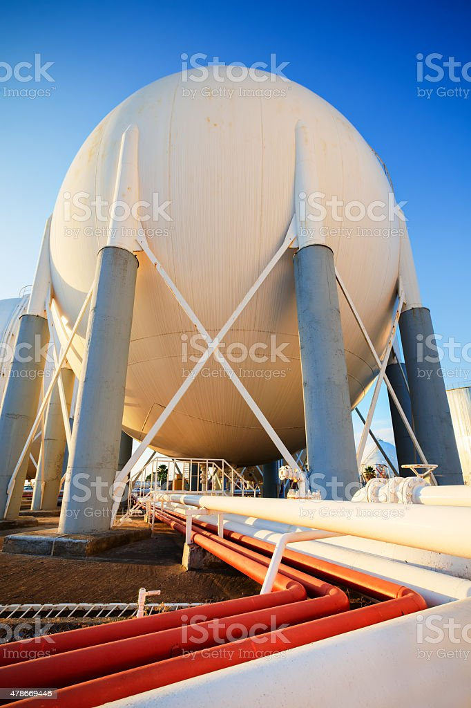 Petrochemical Plant sphere tank stock photo