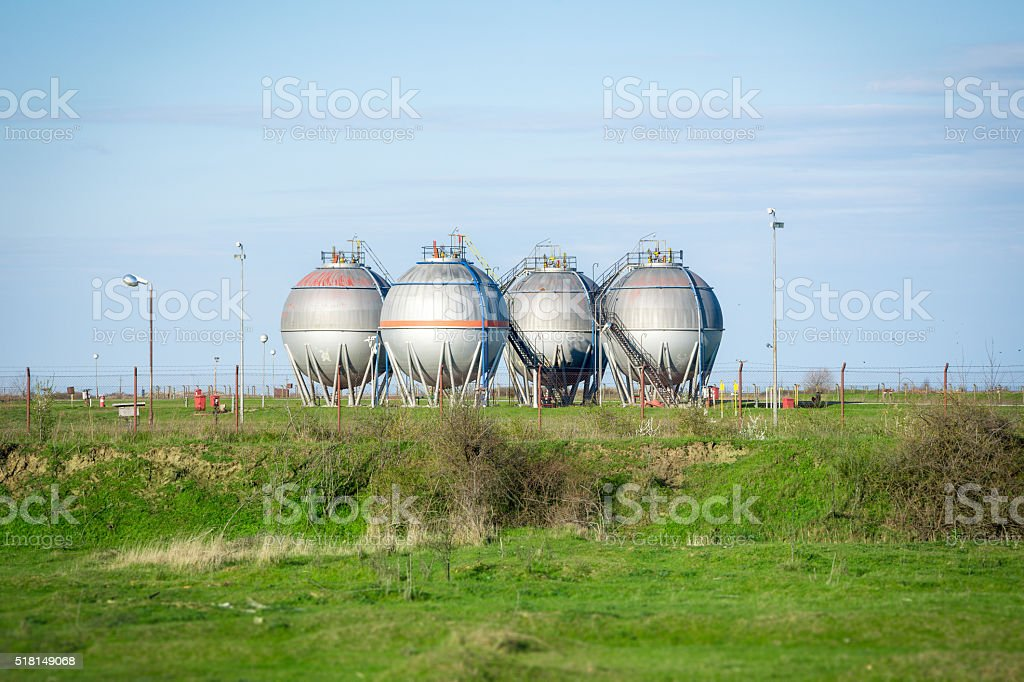 Petrochemical Plant storage tanks stock photo