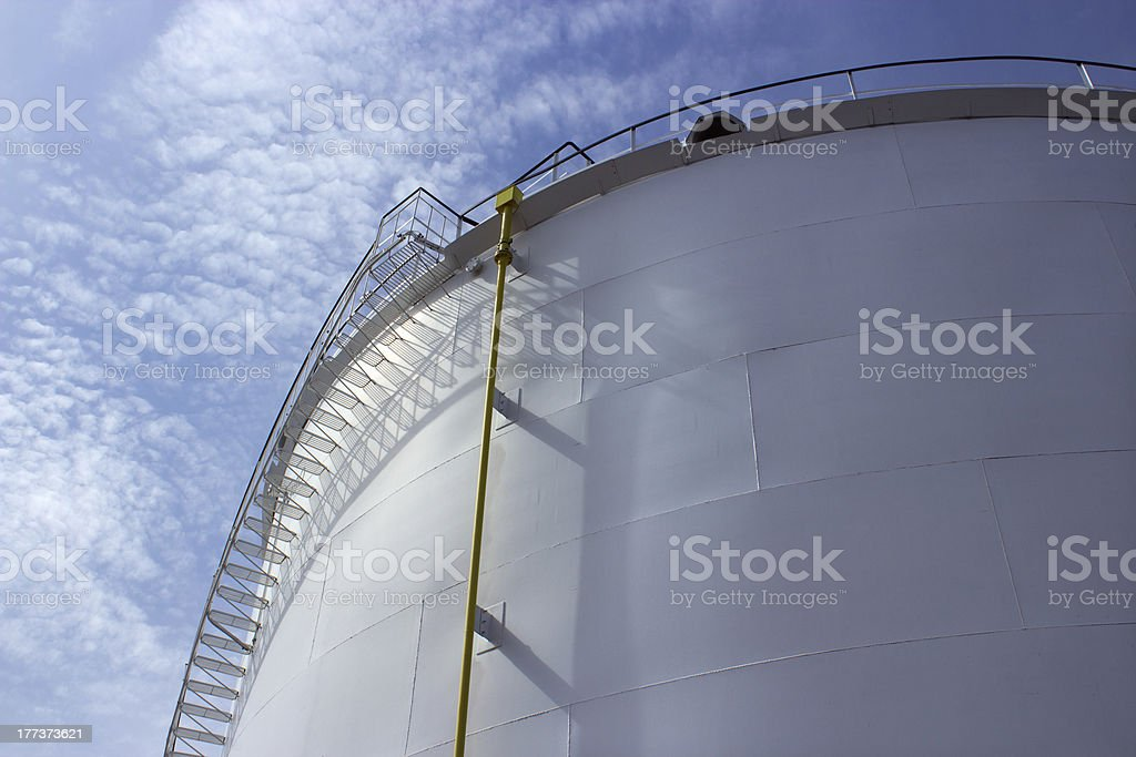 Petrochemical tank with stairs royalty-free stock photo