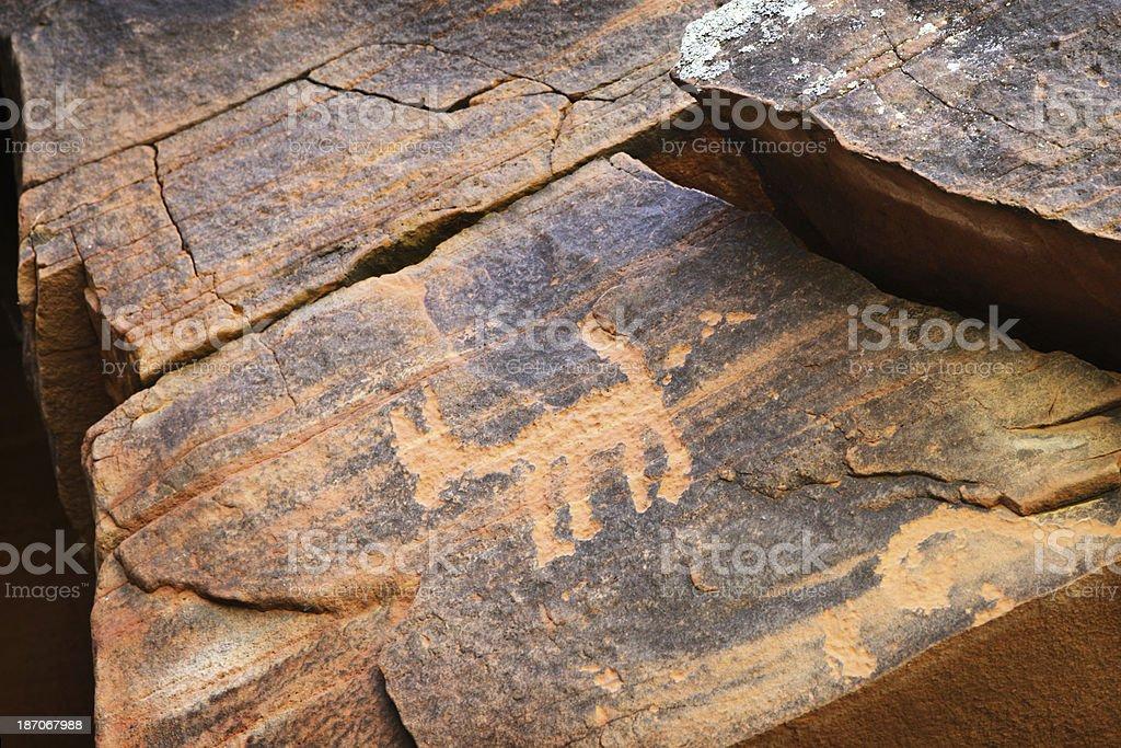 Petroglyph Anasazi Ancient Rock Art Etching royalty-free stock photo