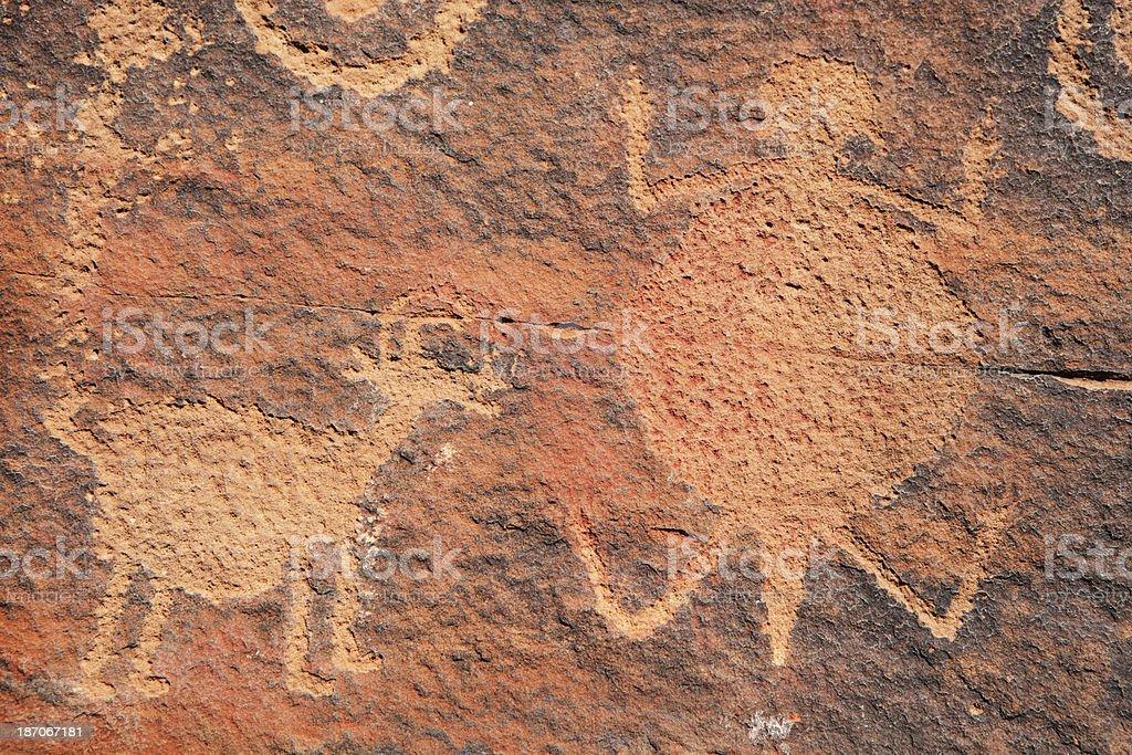 Petroglyph Anasazi Ancient Rock Art Etchings royalty-free stock photo