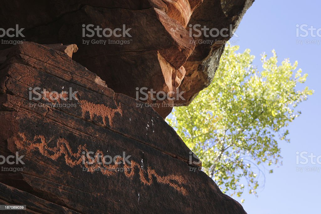 Petroglyph Anasazi Pre-Columbian Art Etchings royalty-free stock photo