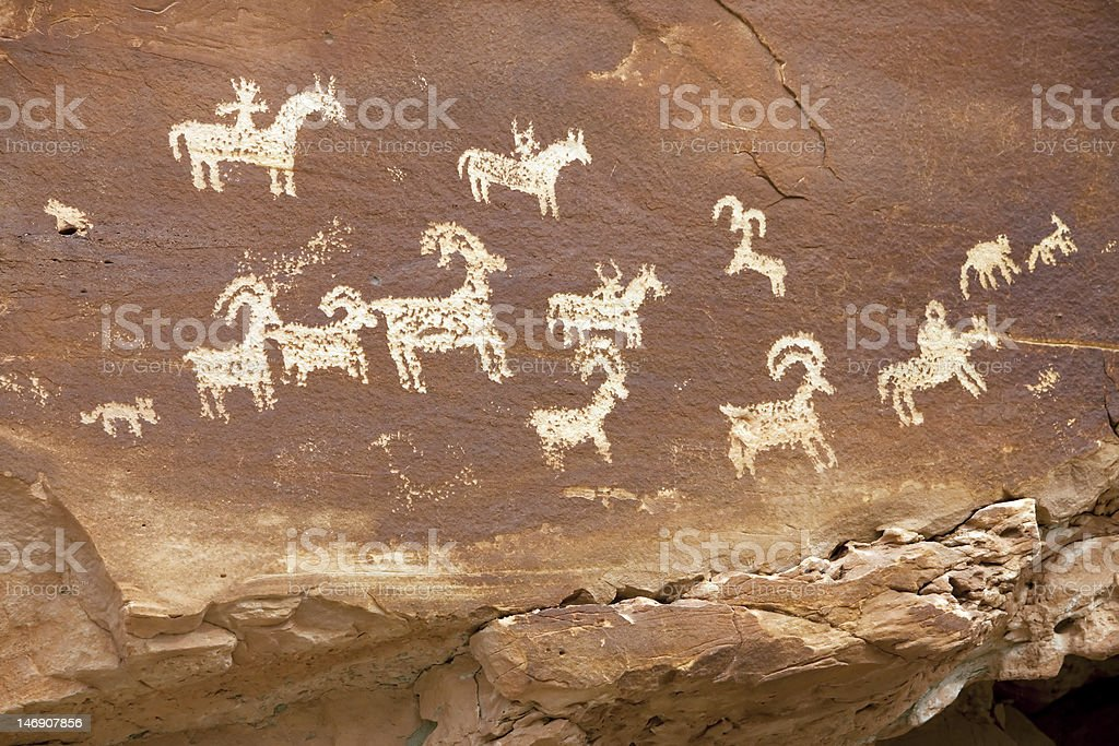 Petroglyph Arches National Park stock photo