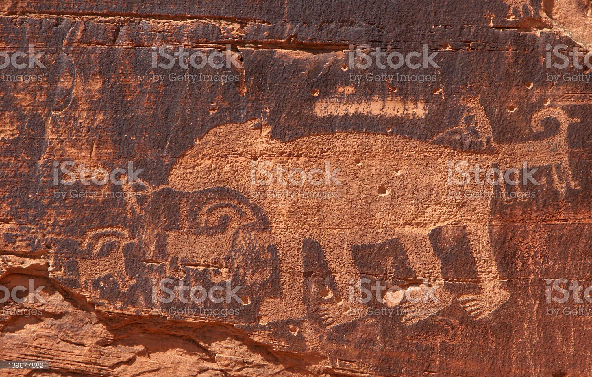 Petroglyph bear royalty-free stock photo