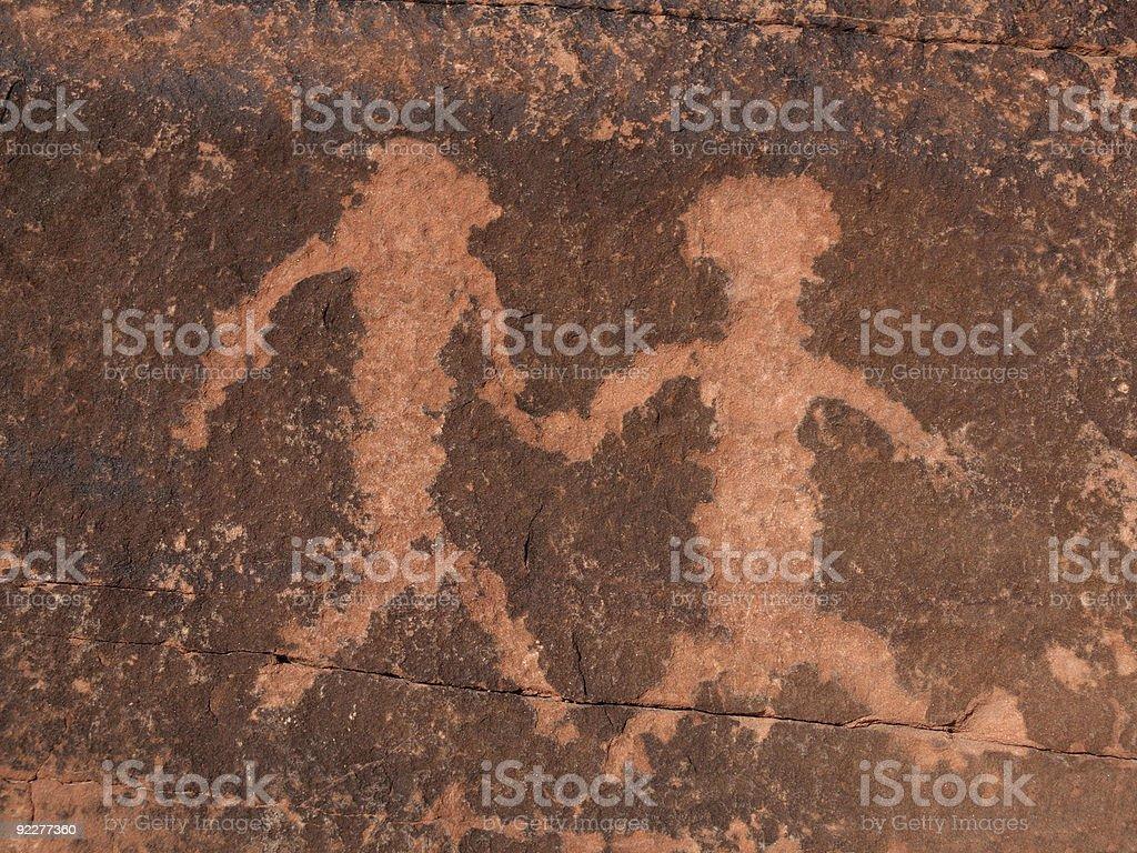 Petroglyph Couple royalty-free stock photo