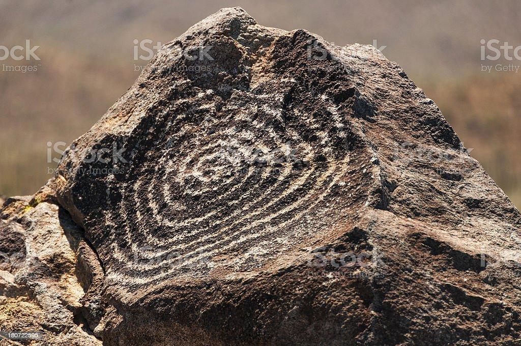 Petroglyph Made by the Hohokum Indians in Arizona royalty-free stock photo