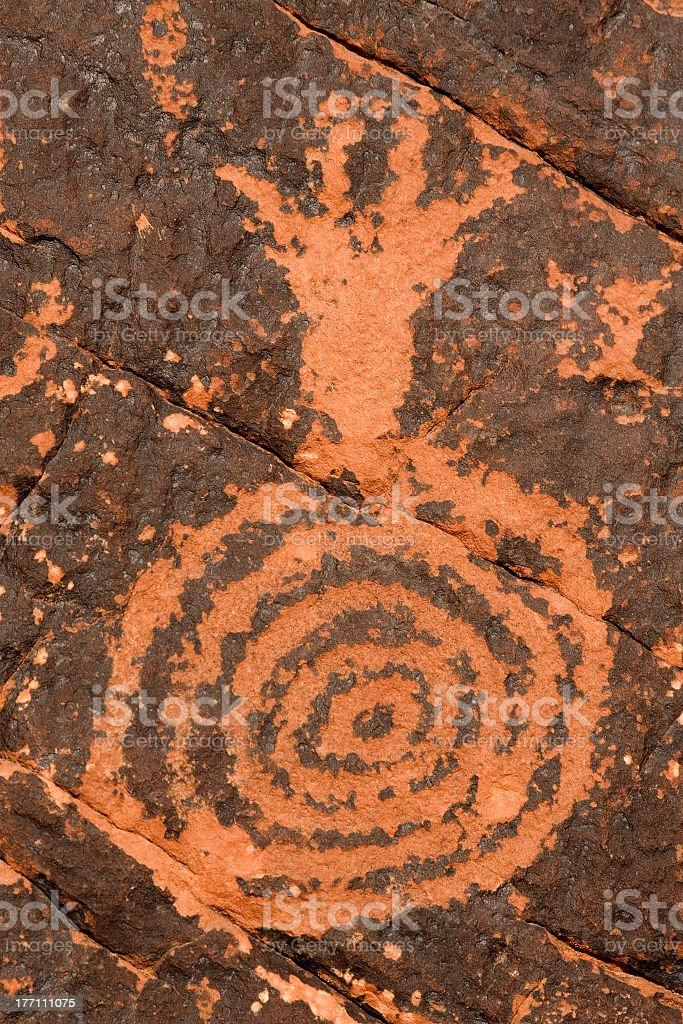 Petroglyph on Red Rock royalty-free stock photo