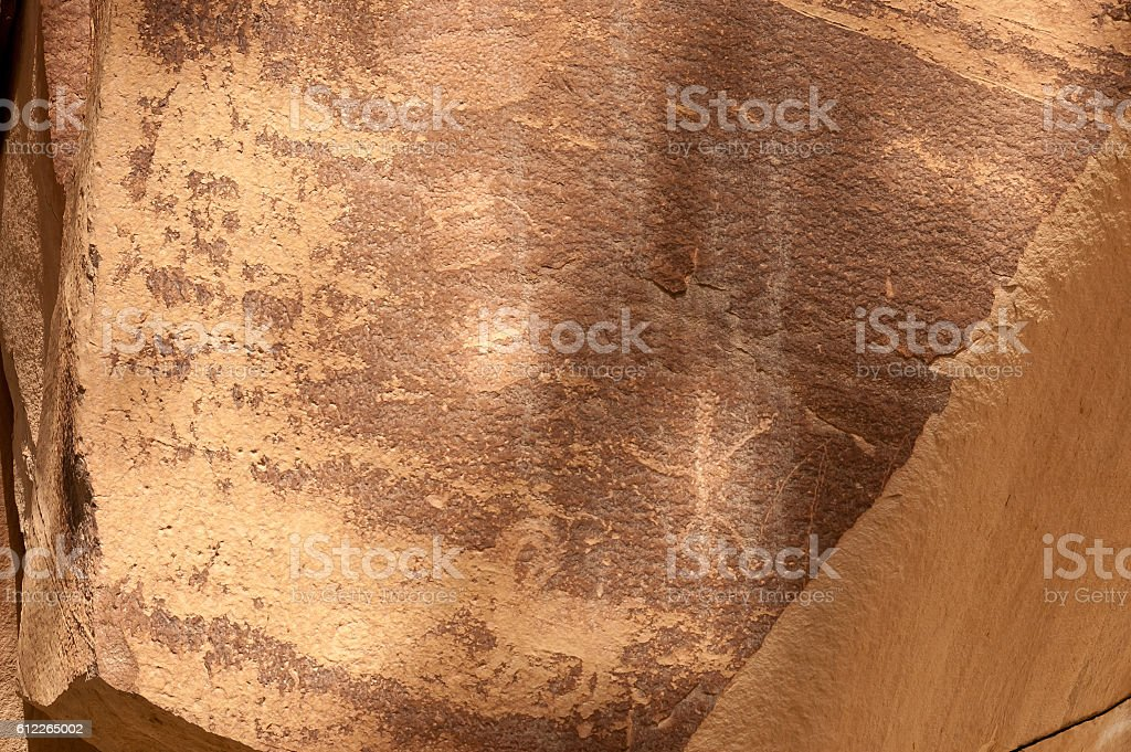 Petroglyph or rock art carvings in Freemont, Utah stock photo