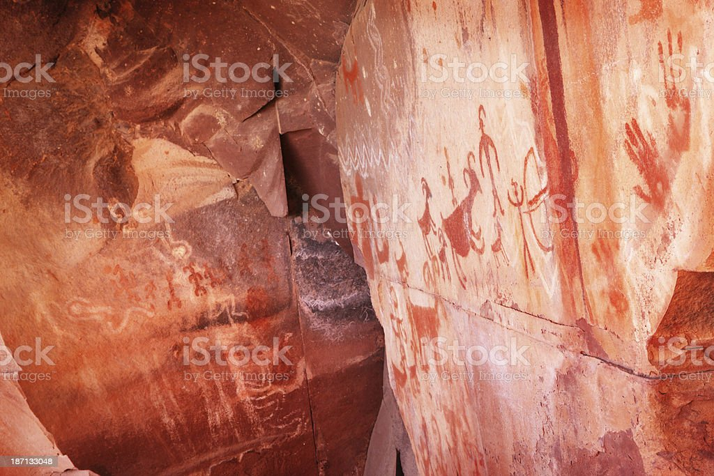 Petroglyph Pictograph Anasazi Pre-Columbian Art stock photo