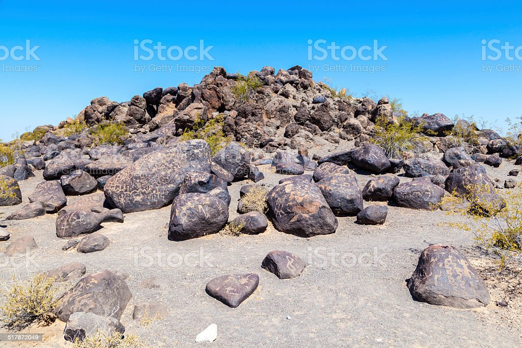 Petroglyph Site, Near Gila Bend, Arizona stock photo