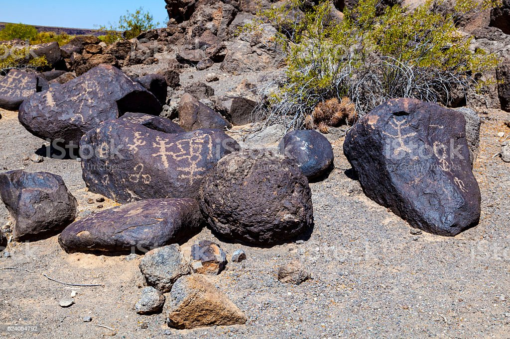 Petroglyph Site, Near Gila Bend, Arizona stock photo