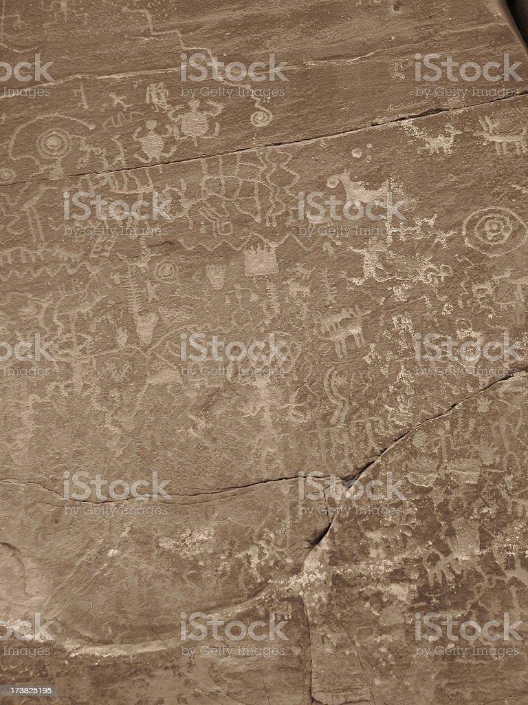 Petroglyph Solar Calender Ancient Figures royalty-free stock photo