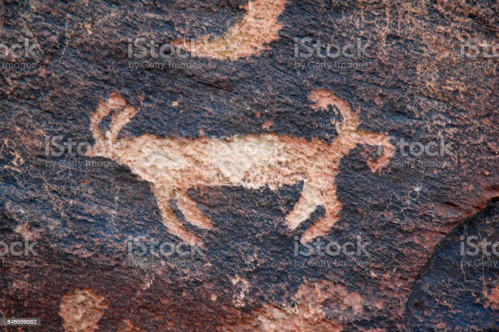 Petroglyphs Animal stock photo