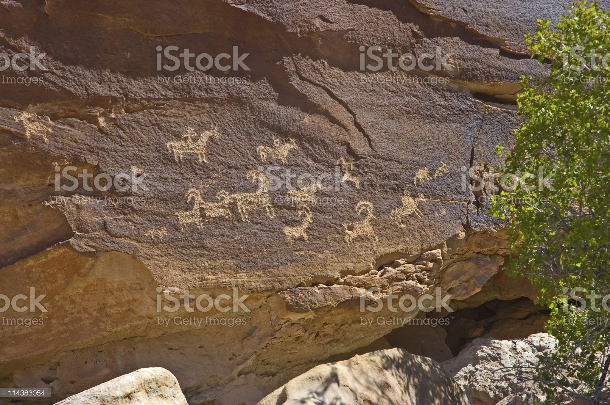Petroglyphs at Arches National Park, Utah royalty-free stock photo