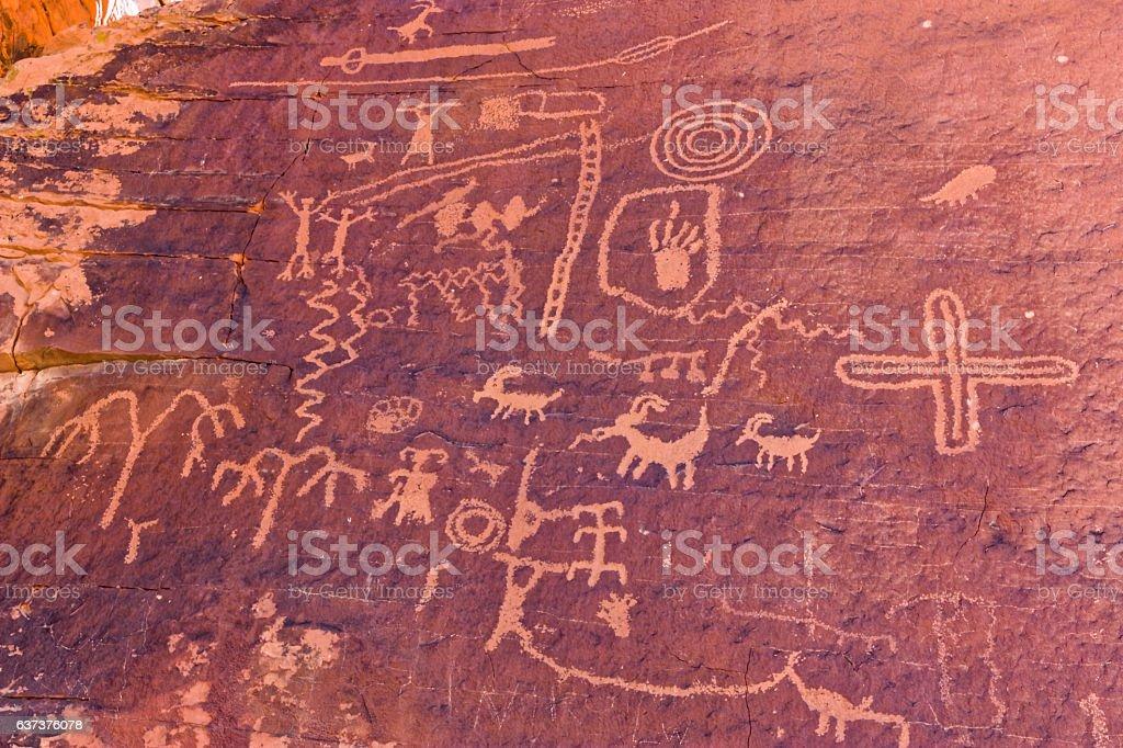 Petroglyphs at Atlatl Rock. stock photo