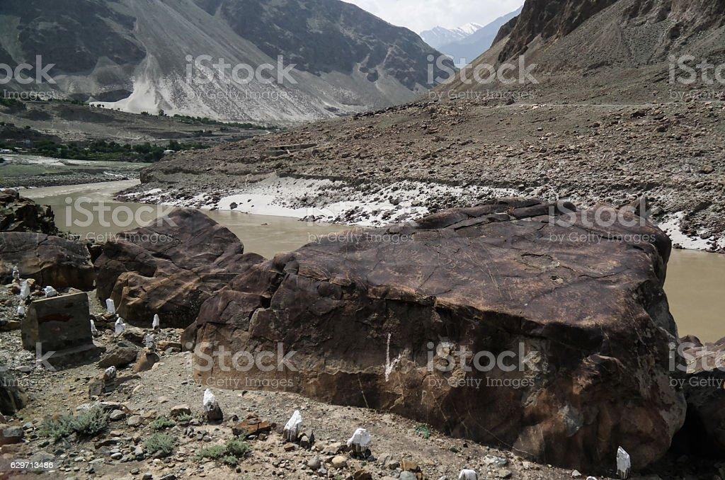 Petroglyphs at bank of Indus river, Chilas , Gilgit-Baltistan Pakistan stock photo