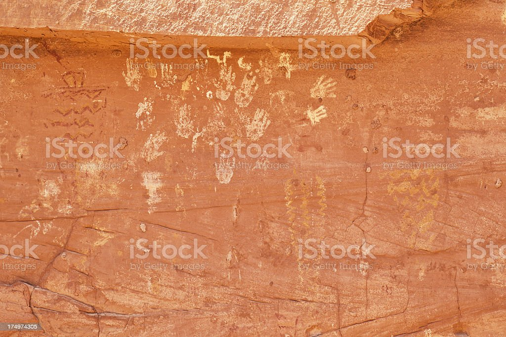 Petroglyphs at Many Hands Ruins in Monument Valley stock photo