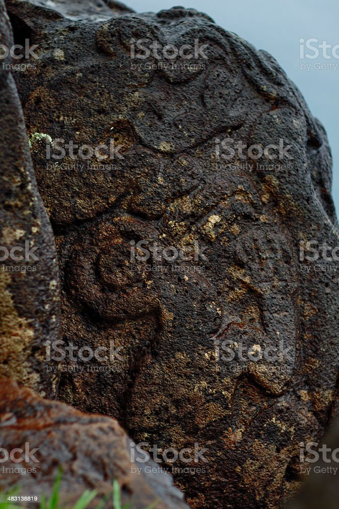 Petroglyphs at Orongo - Easter Island stock photo