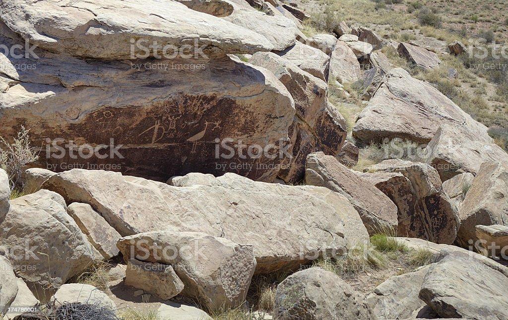 Petroglyphs at Petrified Forest National Park stock photo