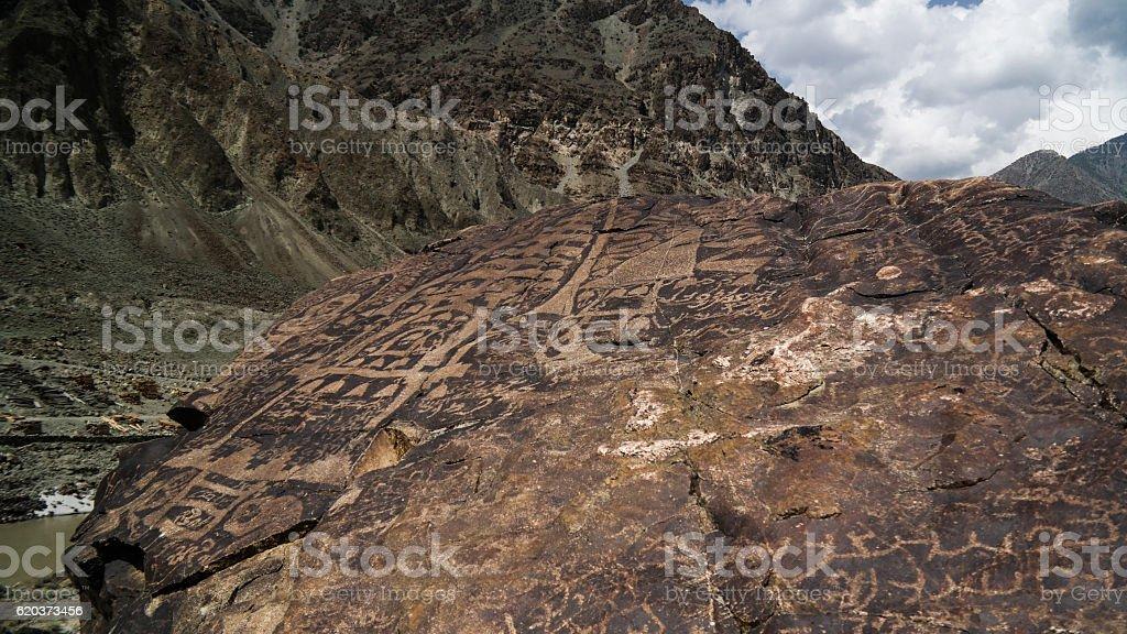 Petroglyphs at the bank of Indus river, Gilgit-Baltistan Pakistan stock photo