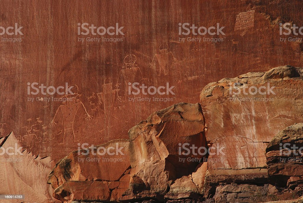 Petroglyphs Captiol Reef National Park royalty-free stock photo