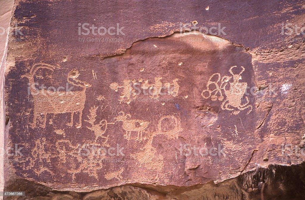 Petroglyphs Desert Varnish Rocky cliffs near Santa Clara Utah stock photo