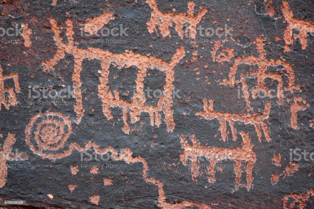 Petroglyphs Hunting stock photo