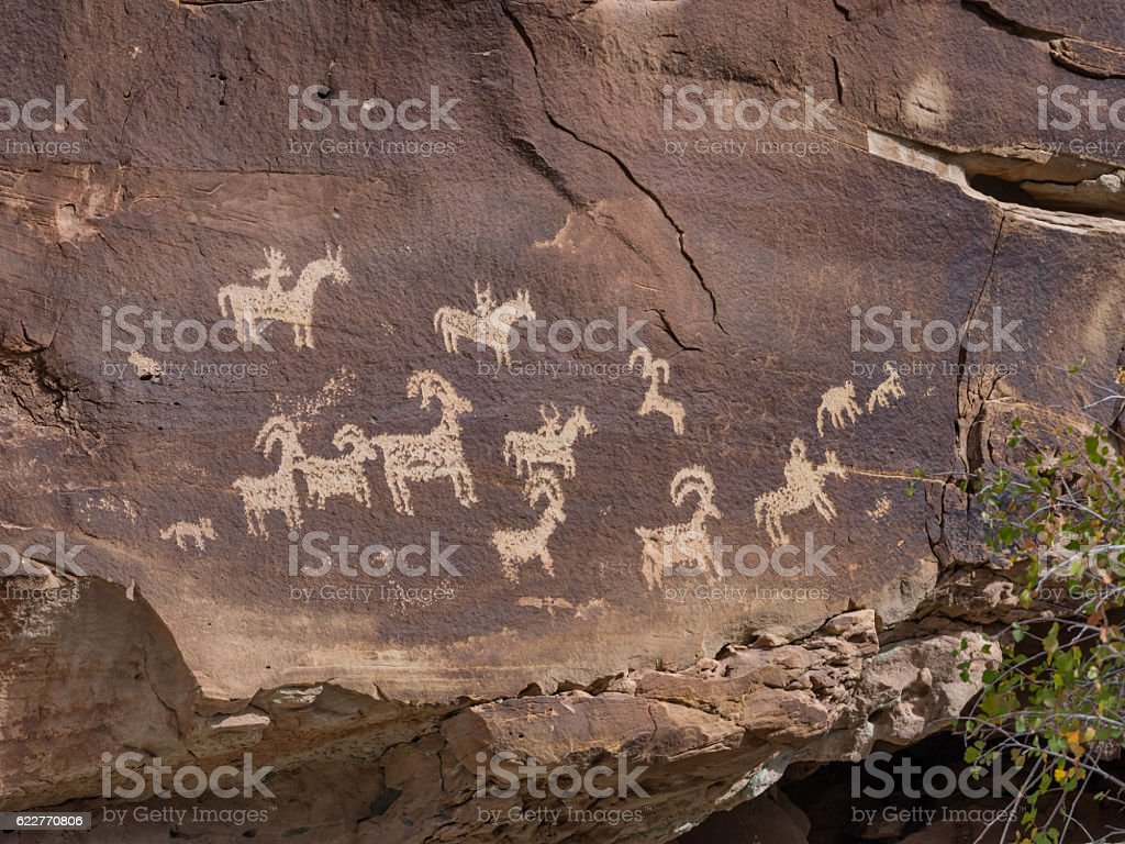 Petroglyphs in Arches national monument, Utah stock photo
