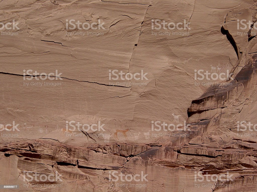 Petroglyphs in Canyon de Chelly National Monument - Arizona royalty-free stock photo
