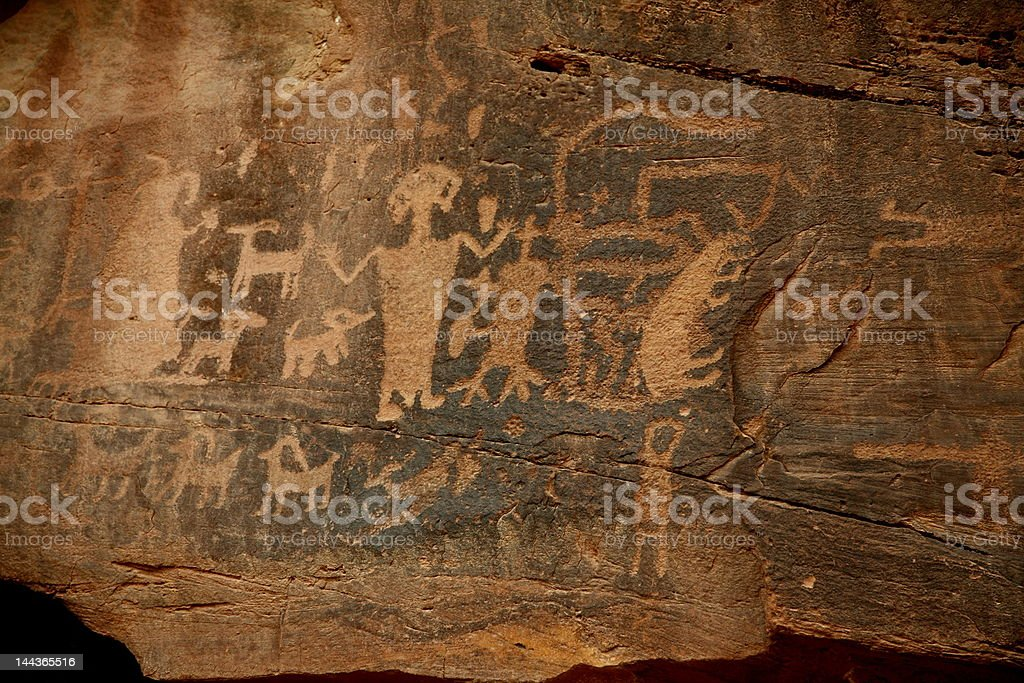 Petroglyphs in southern utah royalty-free stock photo