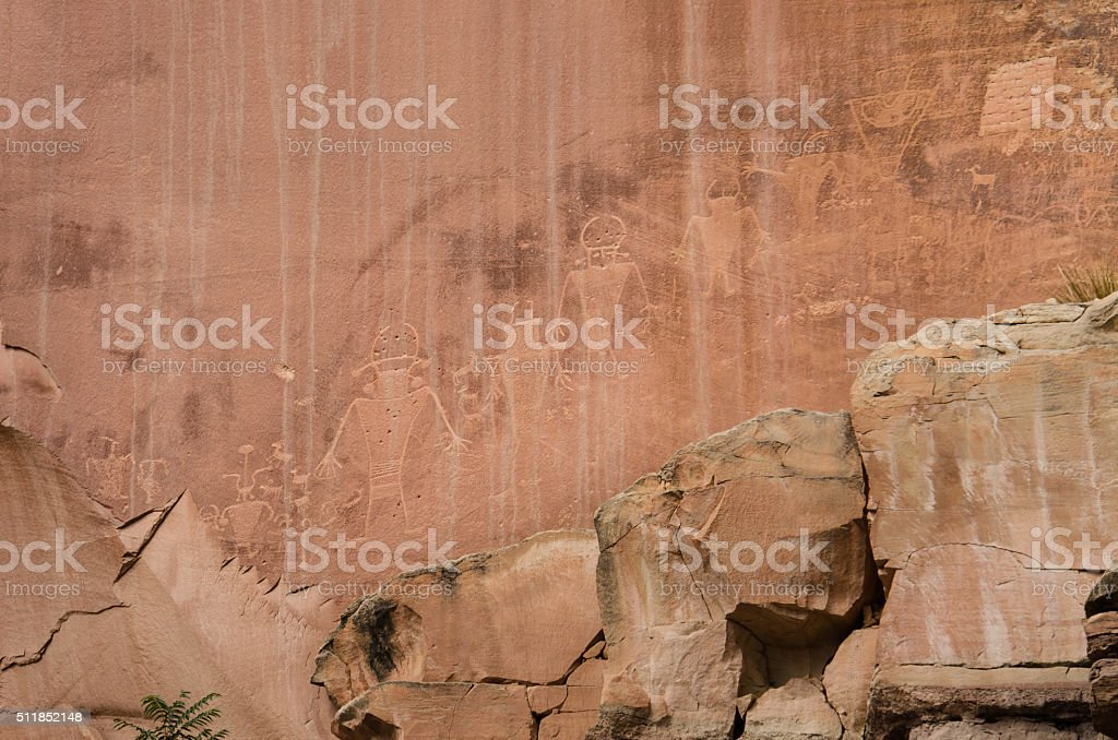 Petroglyphs of Anasazi Indian tribe in Capitol Reef National Park stock photo