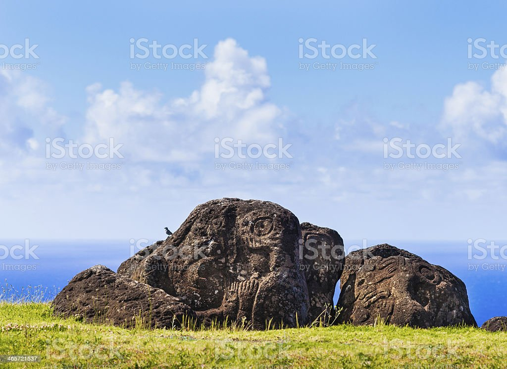 Petroglyphs of Birdman in Orongo Village, Easter Island, Chile stock photo