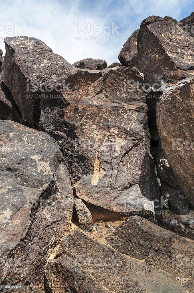 Petroglyphs on Basalt in Petroglyph National Monument, Albuquerq stock photo