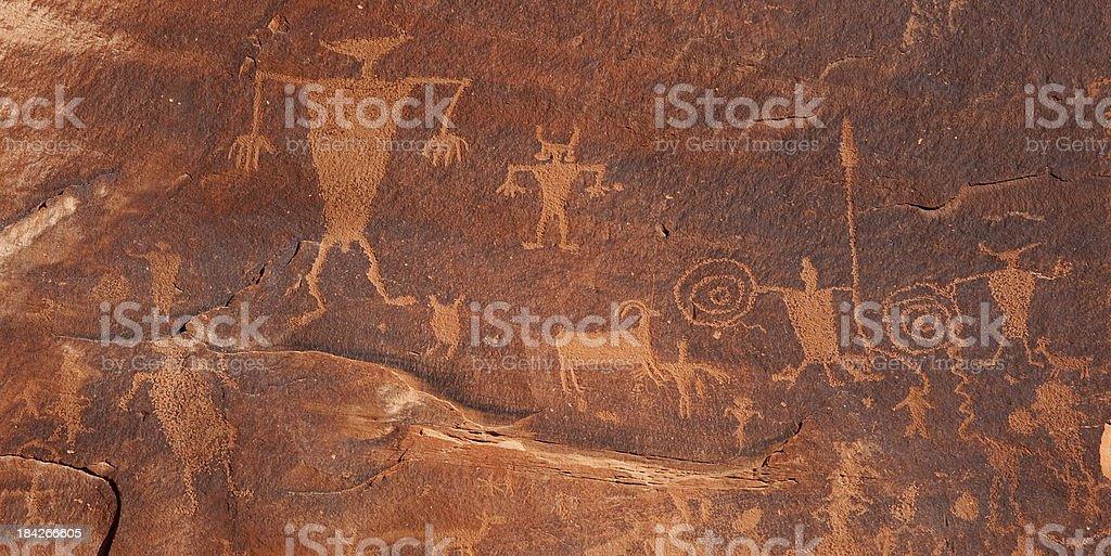 Petroglyphs on cliffs along Colorado River near Moab Utah USA royalty-free stock photo