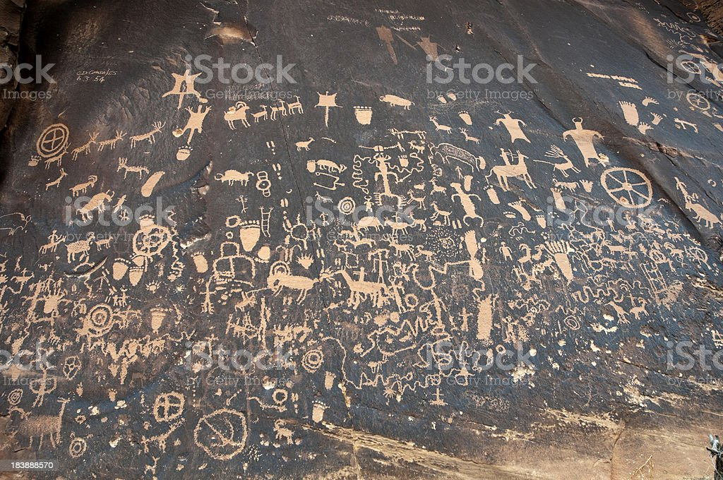 Petroglyphs on Newspaper Rock in Utah stock photo