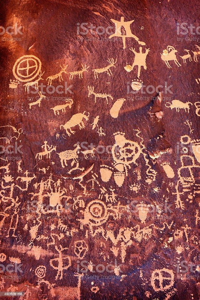 Petroglyphs on Newspaper Rock, Utah, USA. stock photo